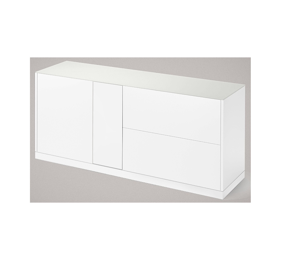 LINEA 185 LARGE SIDEBOARD, MATT LACQUERED BODY WITH WHITE ETCHED GLASS TOP-0