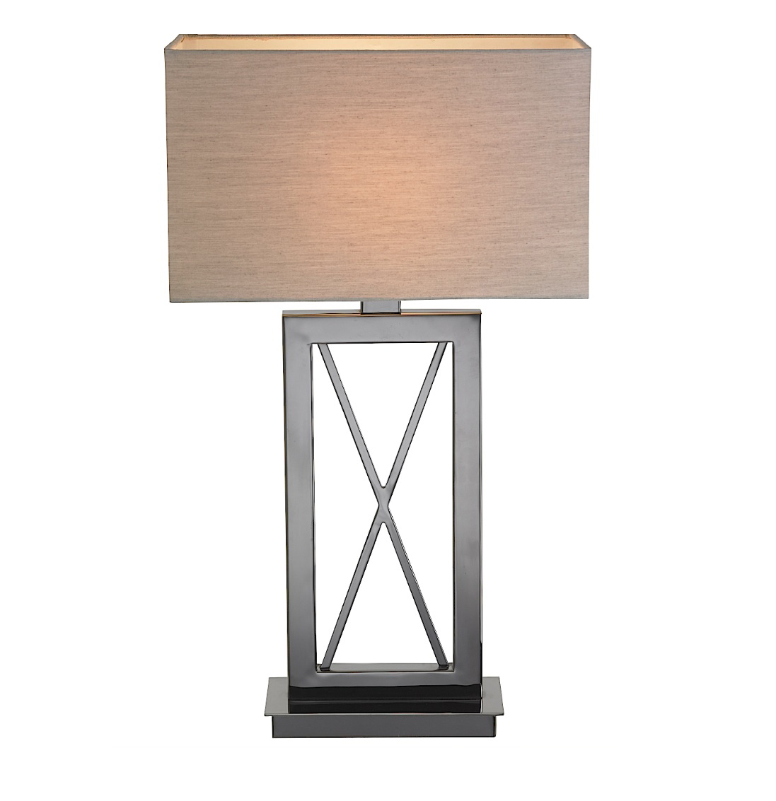 SCALA CROSS BLACK NICKEL TABLE LAMP WITH SHADE -0