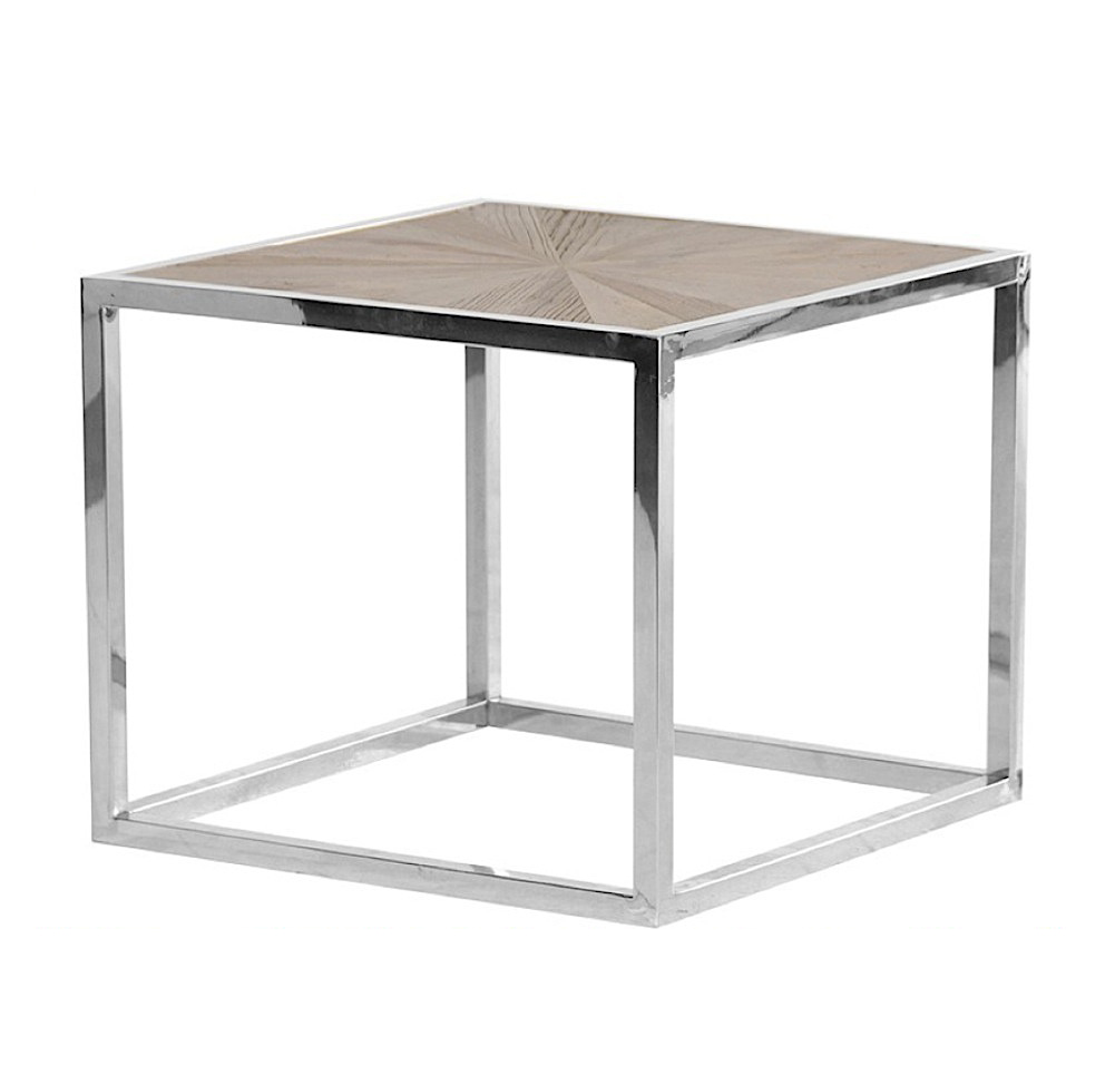 HENNESSEY CHROME AND PARQUET SIDE TABLE-0