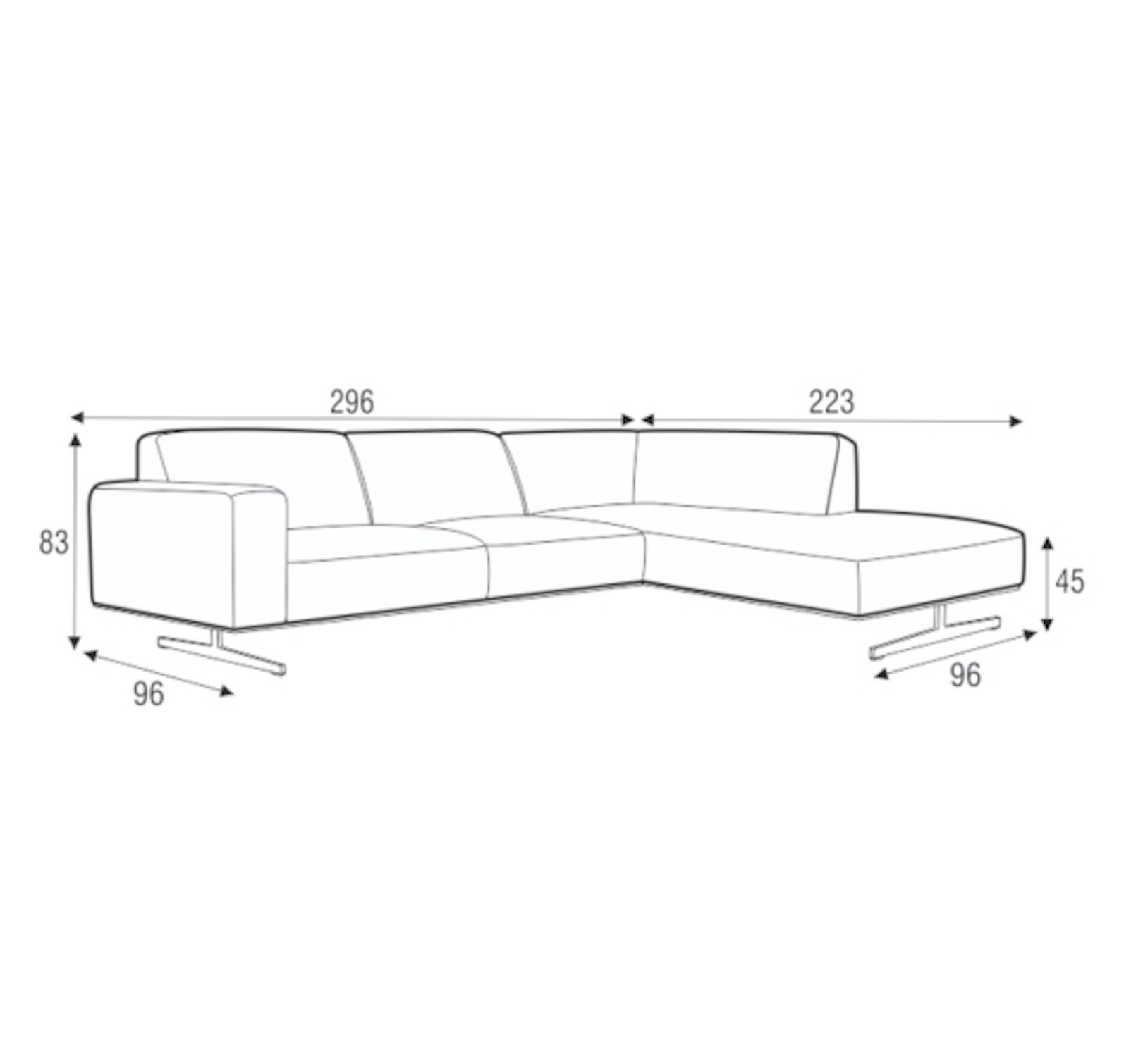Mathis Italian Leather Three Seater With Divan-33761