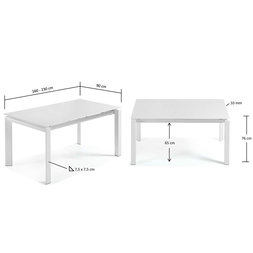 SANTINO WHITE EXTENDABLE DINING TABLE LARGE-33843
