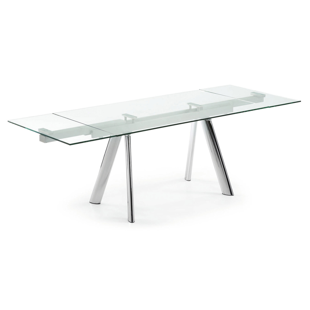 ENZO CLEAR GLASS EXTENDABLE DINING TABLE -0