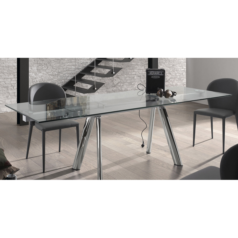 ENZO CLEAR GLASS EXTENDABLE DINING TABLE -33874
