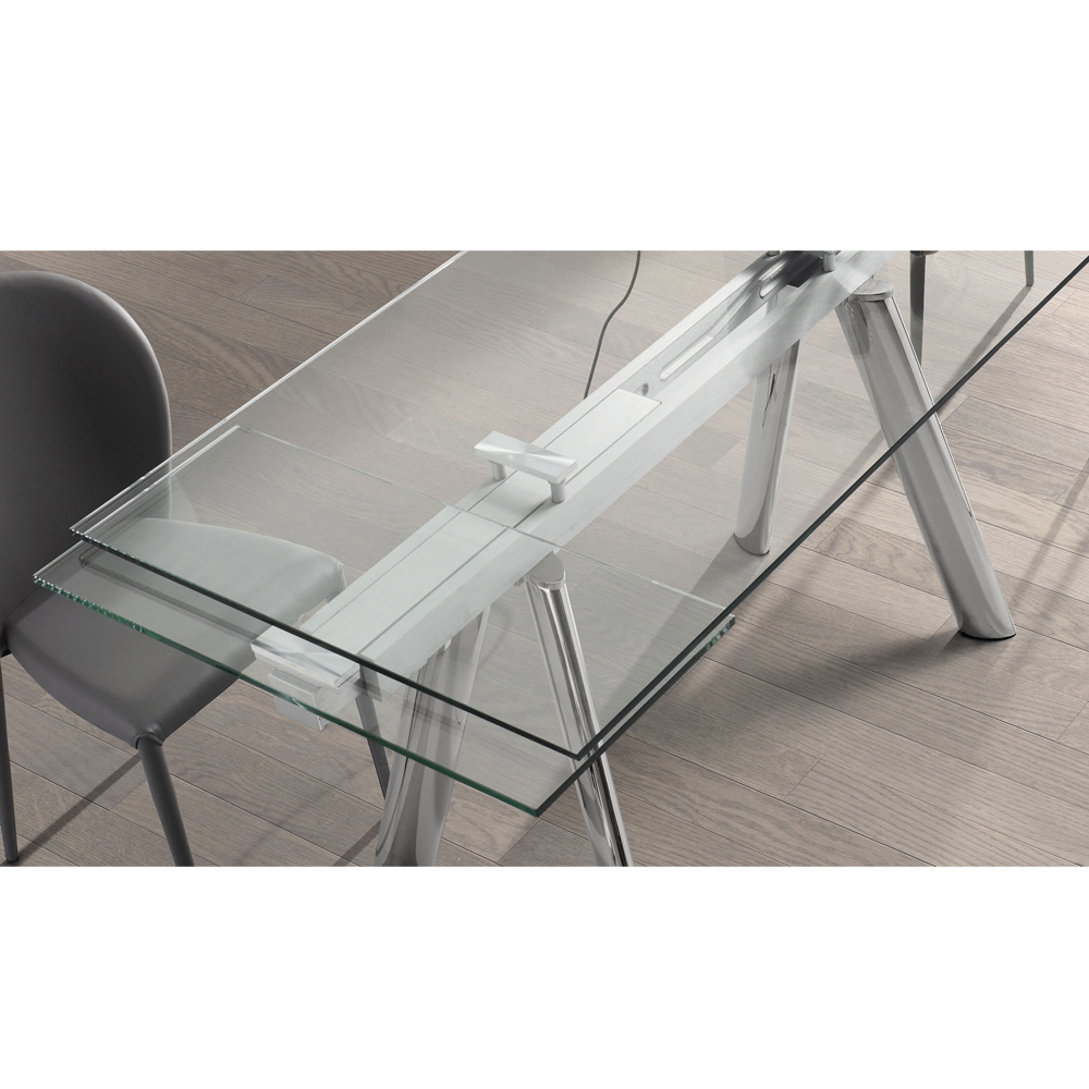 ENZO CLEAR GLASS EXTENDABLE DINING TABLE -33876