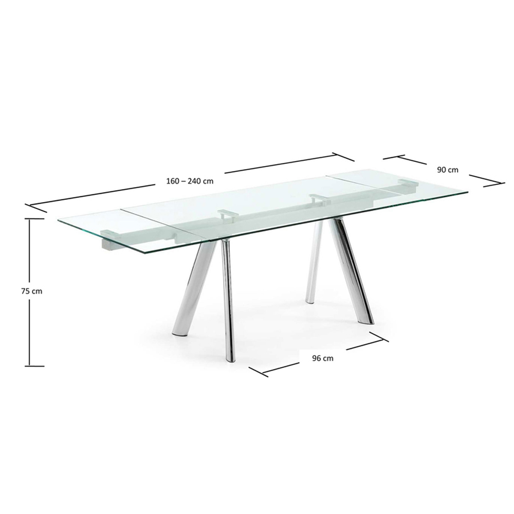 ENZO CLEAR GLASS EXTENDABLE DINING TABLE -33877