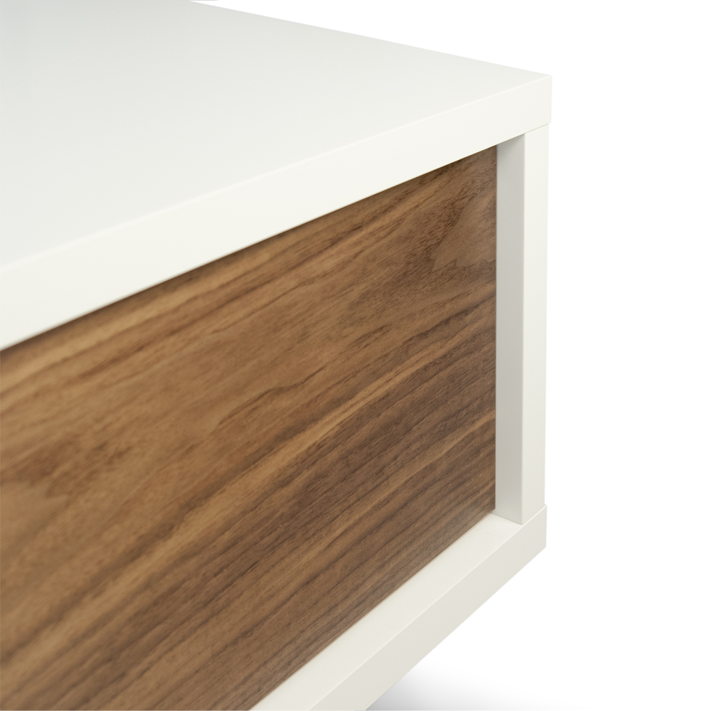 SANDRO TV TABLE WITH SLIDING DOORS IN PURE WHITE AND WALNUT, WHITE LEGS-35093