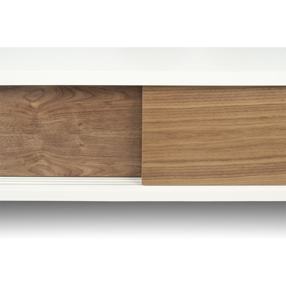 SANDRO TV TABLE WITH SLIDING DOORS IN PURE WHITE AND WALNUT, WHITE LEGS-35086