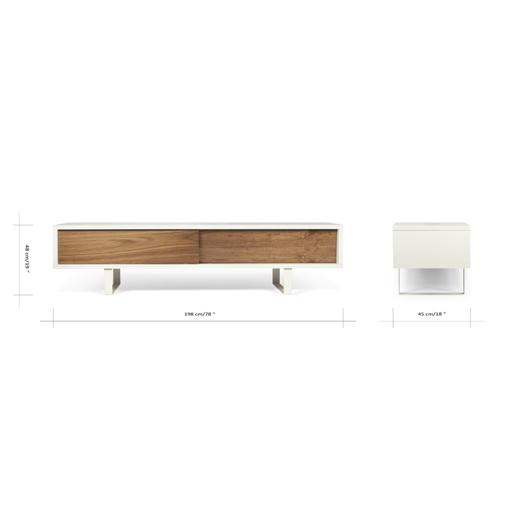 SANDRO TV TABLE WITH SLIDING DOORS IN PURE WHITE AND WALNUT, WHITE LEGS-35082
