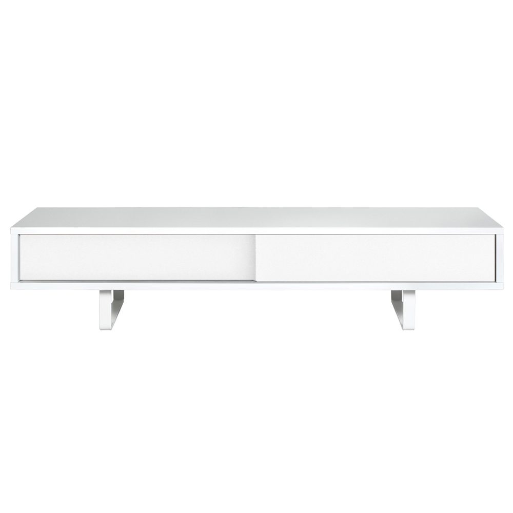 SANDRO TV TABLE WITH SLIDING DOORS IN PURE WHITE AND WALNUT, WHITE LEGS-35085