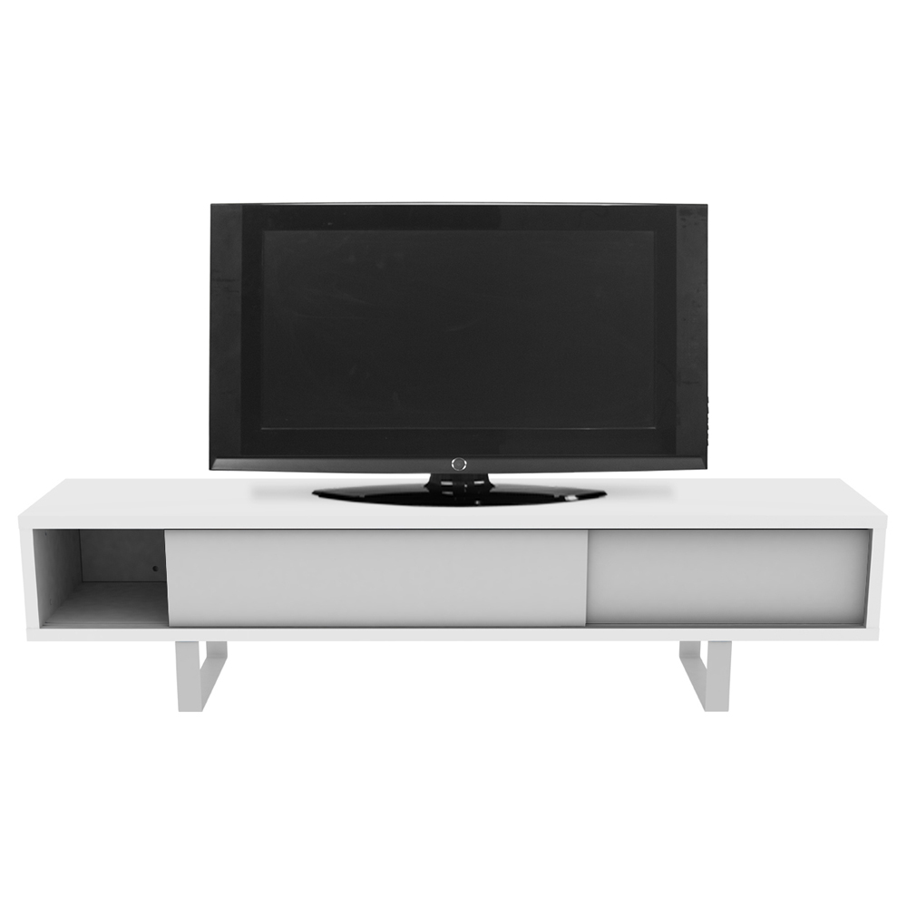 SANDRO TV TABLE WITH SLIDING DOORS IN PURE WHITE AND WALNUT, WHITE LEGS-35090