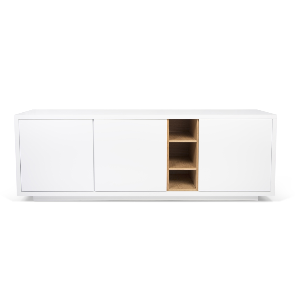 NICCI PURE WHITE SIDEBOARD WITH OAK CENTRAL STORAGE-0
