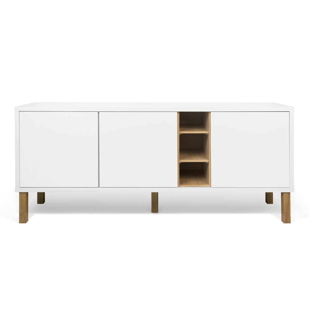 NICCI PURE WHITE SIDEBOARD WITH OAK CENTRAL STORAGE-35098
