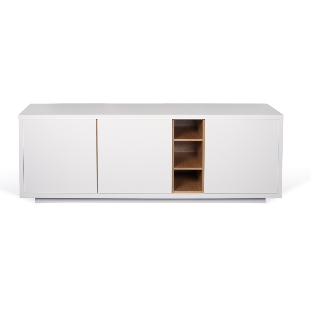 NICCI PURE WHITE SIDEBOARD WITH OAK CENTRAL STORAGE-35106