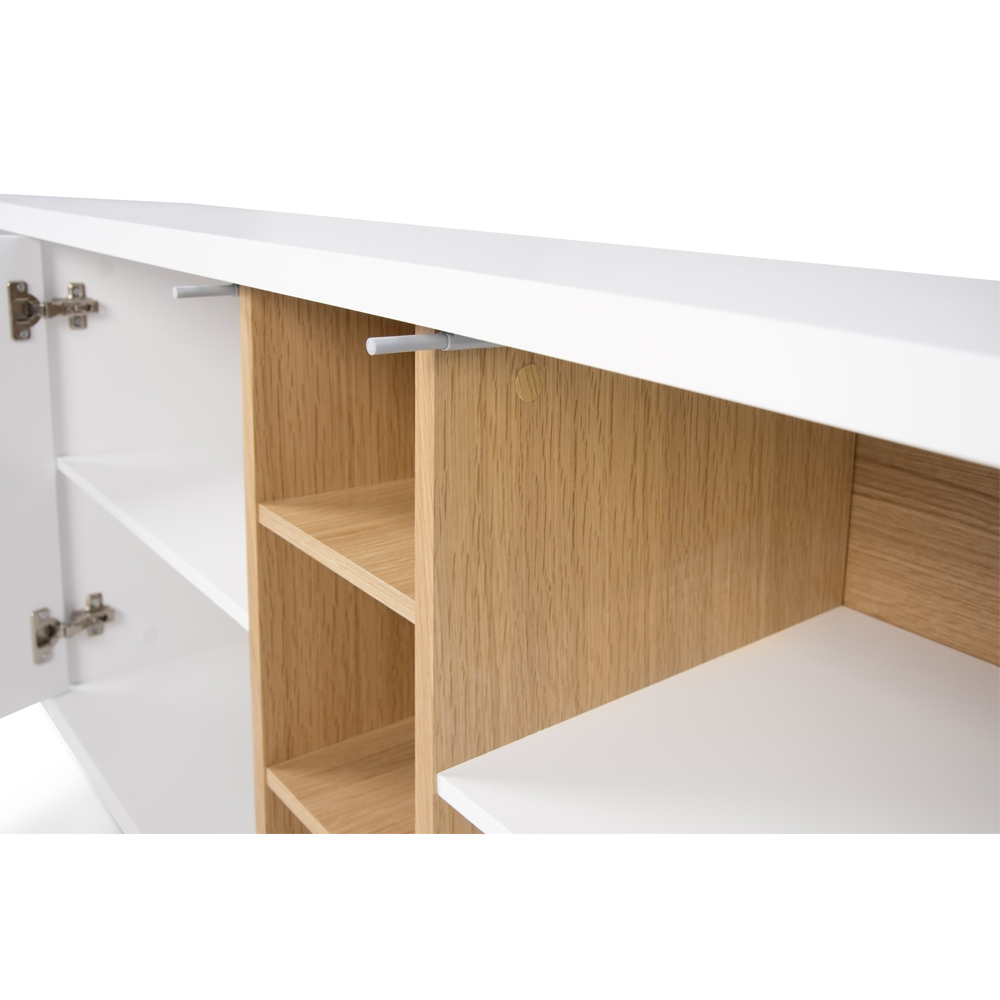 NICCI PURE WHITE SIDEBOARD WITH OAK CENTRAL STORAGE-35107