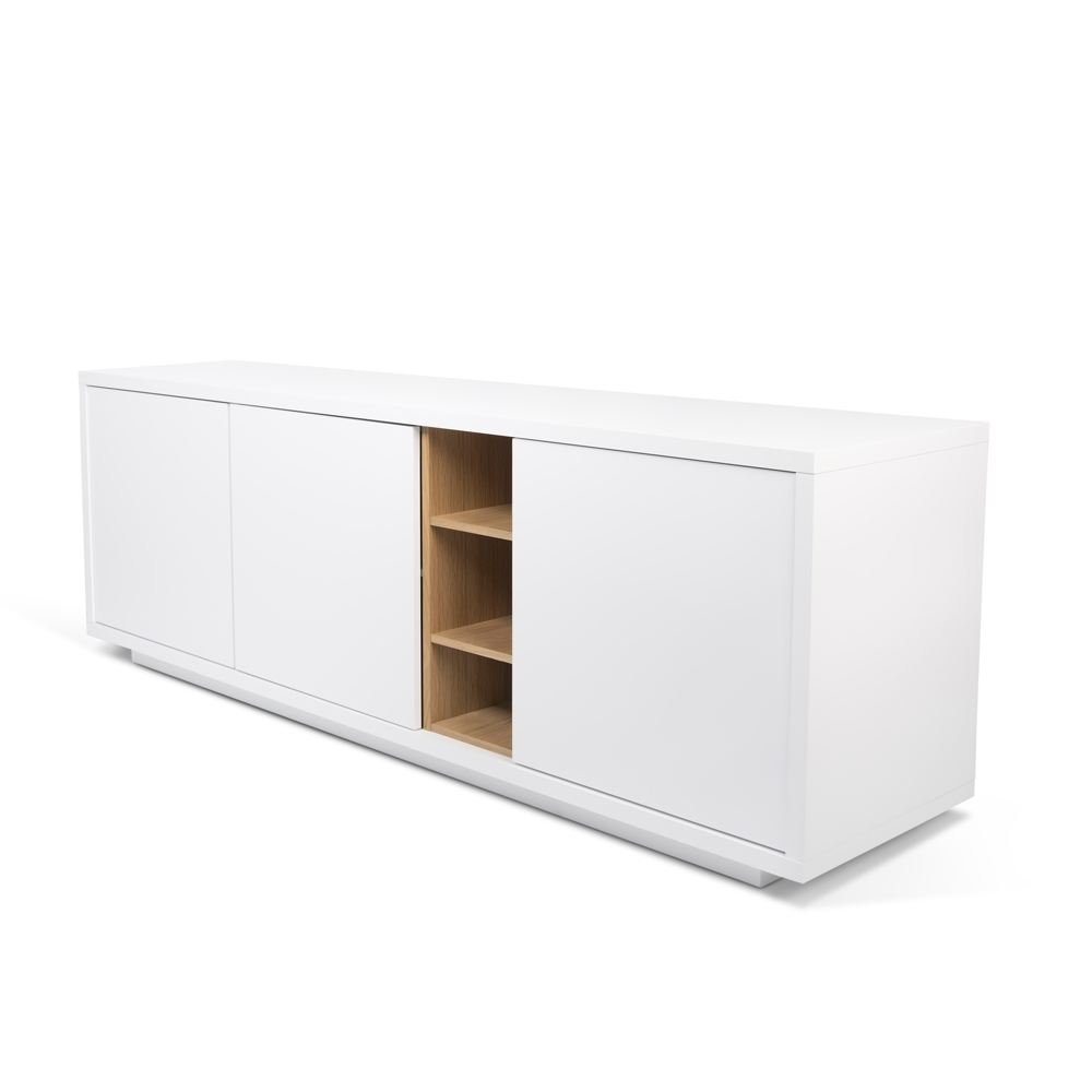 NICCI PURE WHITE SIDEBOARD WITH OAK CENTRAL STORAGE-35111