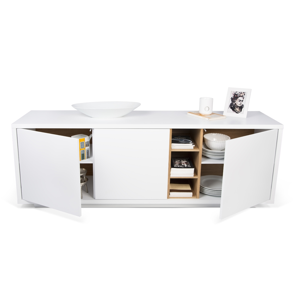 NICCI PURE WHITE SIDEBOARD WITH OAK CENTRAL STORAGE-35101