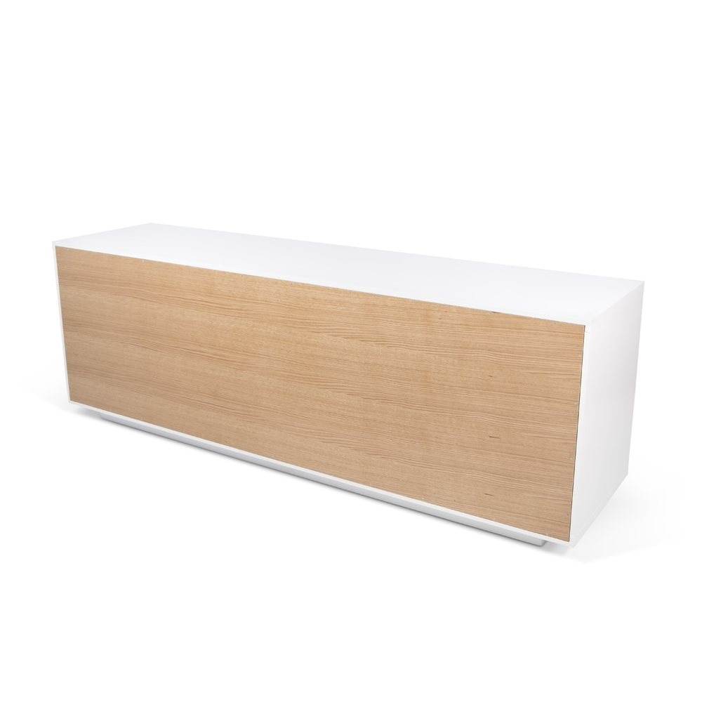 NICCI PURE WHITE SIDEBOARD WITH OAK CENTRAL STORAGE-35110