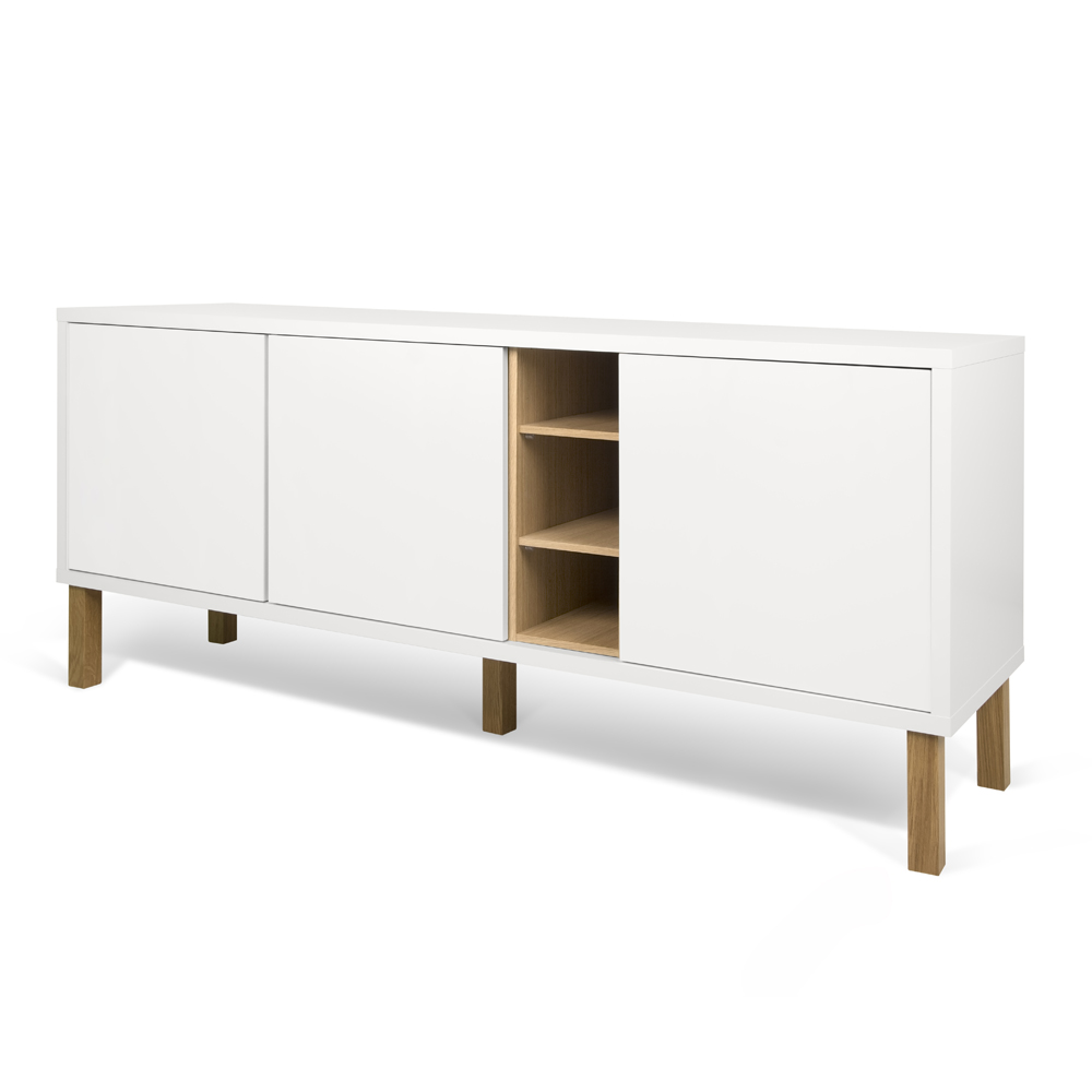 NICCI PURE WHITE SIDEBOARD WITH OAK CENTRAL STORAGE-35114