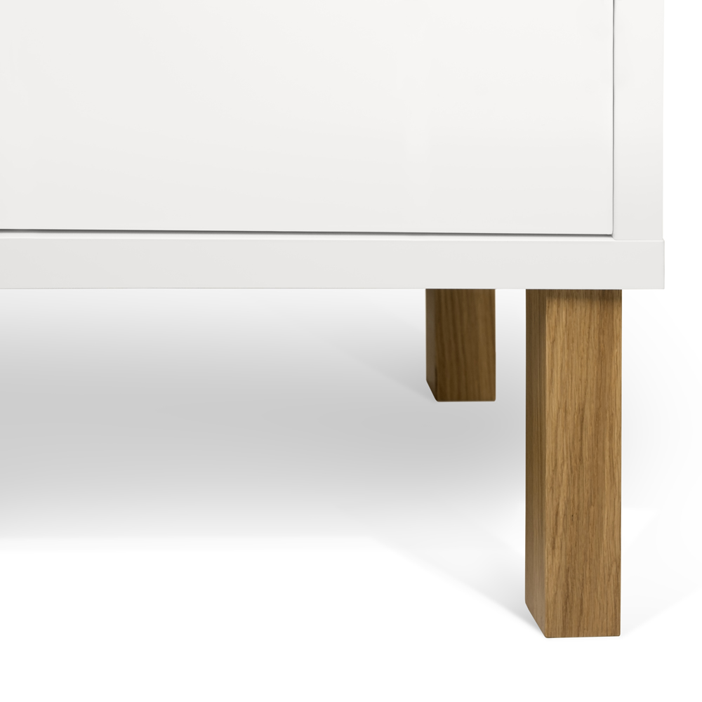NICCI PURE WHITE SIDEBOARD WITH OAK CENTRAL STORAGE-35113