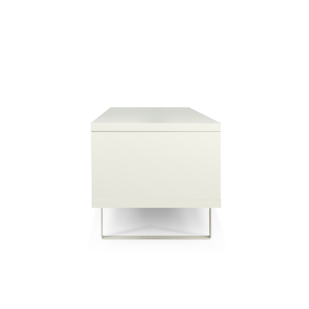 SANDRO TV TABLE WITH SLIDING DOORS IN PURE WHITE AND WALNUT, WHITE LEGS-35083