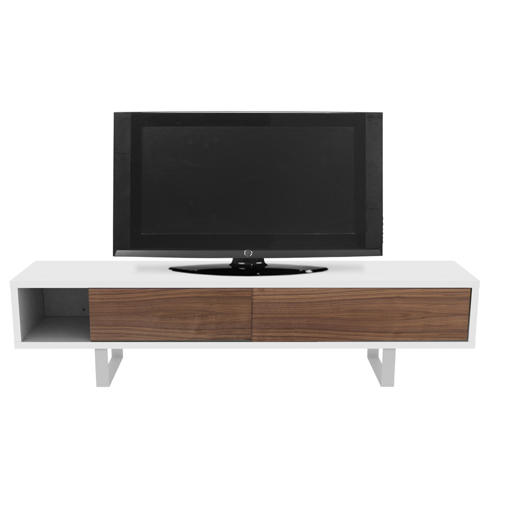 SANDRO TV TABLE WITH SLIDING DOORS IN PURE WHITE AND WALNUT, WHITE LEGS-35084