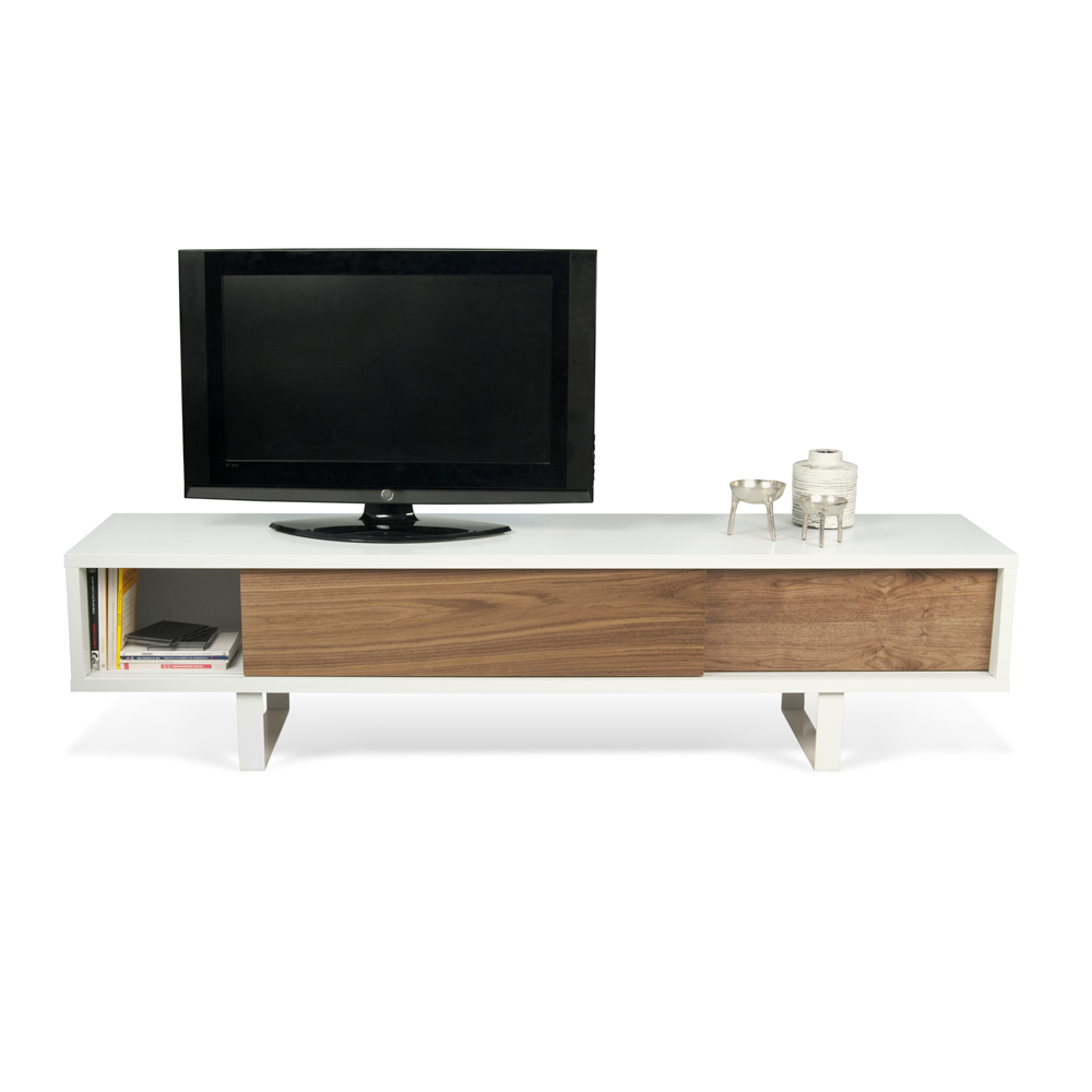 SANDRO TV TABLE WITH SLIDING DOORS IN PURE WHITE AND WALNUT, WHITE LEGS-35088