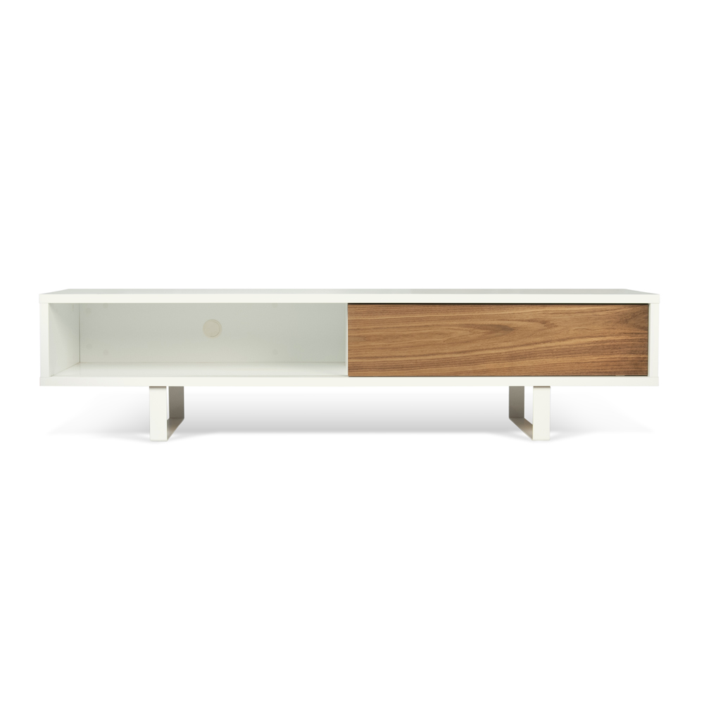 SANDRO TV TABLE WITH SLIDING DOORS IN PURE WHITE AND WALNUT, WHITE LEGS-35092