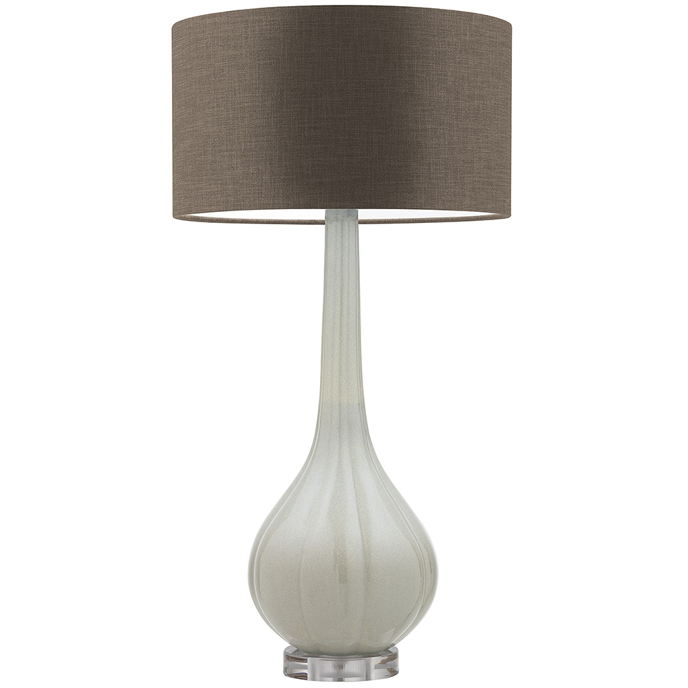 HEATHFIELD ELENOR MIST CRACKLE TABLE LAMP WITH GLAZE MOLE SHADE -0
