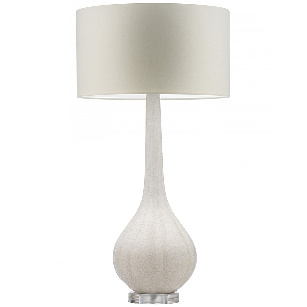 HEATHFIELD ELENOR IVORY CRACKLE TABLE LAMP WITH OYSTER LINEN SHADE -0
