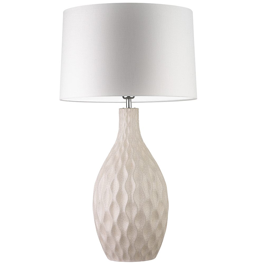 HEATHFIELD OTRANTO IVORY CRACKLE BASE WITH DRUM GLAZE PEARL SHADE -0