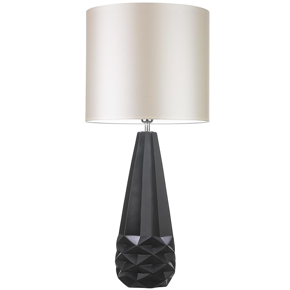 HEATHFIELD SALERNO BLACK TABLE LAMP WITH IVORY SATIN SHADE -0