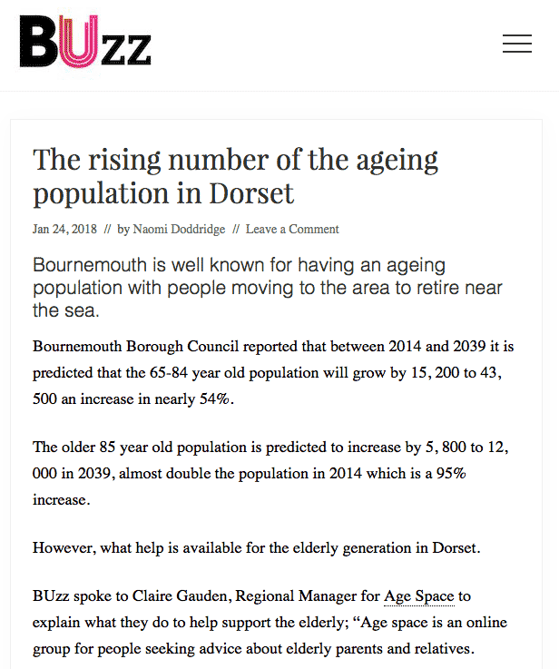 'The rising number of the ageing population in Dorset' - BUzz 24th January 2018