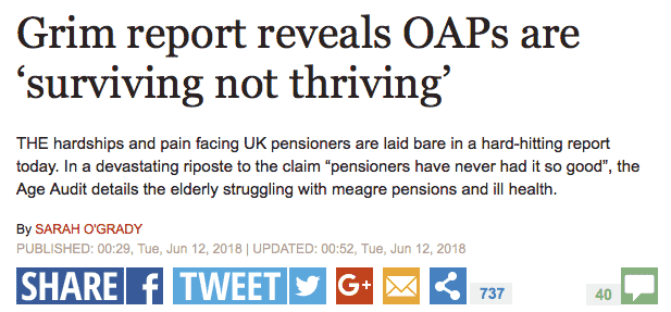 Grim report reveals OAPs are 'surviving not thriving' quote in The Express (June 2018)