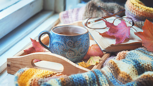 Cozy morning at home. A cup of tea, a blanket, old books and jelly on the windowsill, toned.