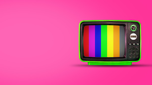 Old vintage tv on pink background