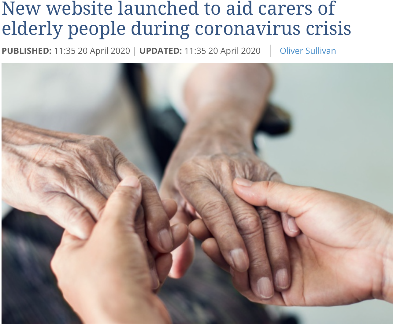 East Anglian Daily Times 20 April 2020 - New Suffolk website for carers