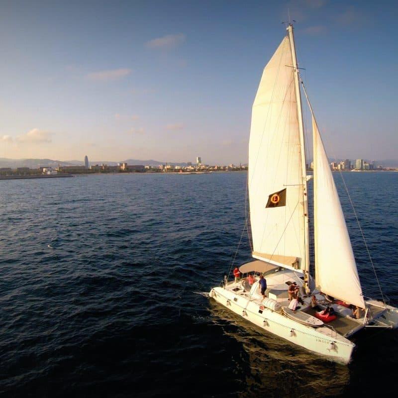 SUNSET Catamaran Sailing trip Barcelona!