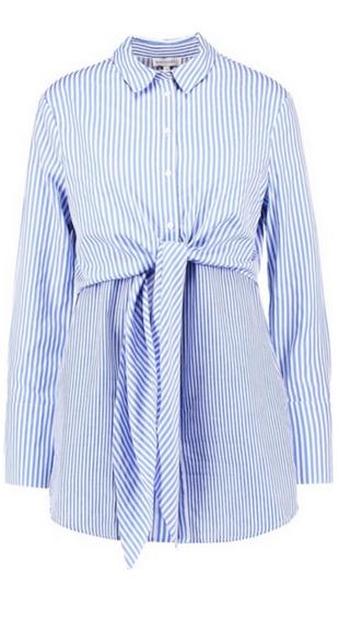 Niebieska koszula w paski z wiązaniem