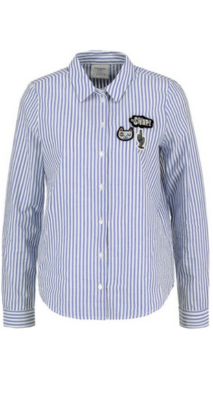 Niebieska koszula w paski z naszywkami
