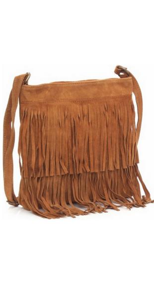 Brązowa torebka z frędzlami