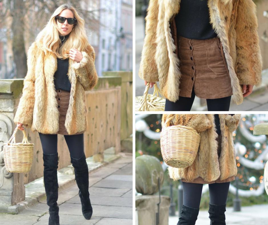 Futrzany płaszcz i pleciony koszyk - oryginalna zimowa propozycja