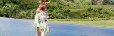 Beyonce w stylizacji boho na Hawajach