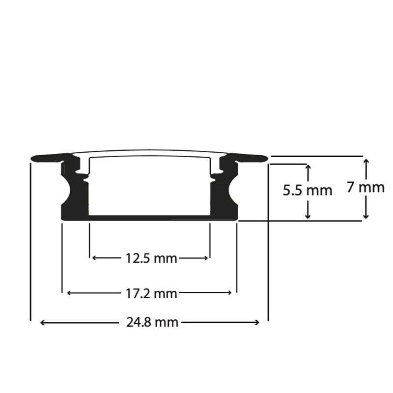 100% Light Uk Shallow Recessed Led Profile Line Drawing