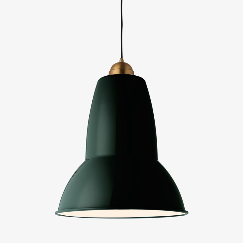 Anglepoise Original 1227 Giant Brass Pendant Midnight Green A