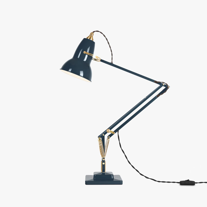 Anglepoise Original 1227 Brass Table Lamp Ink Blue