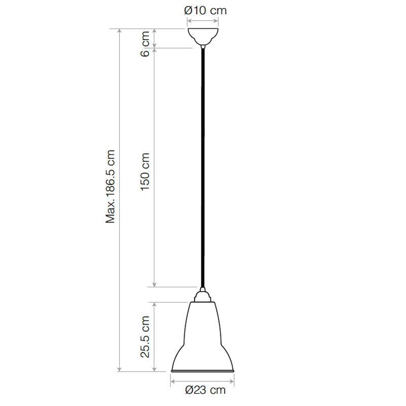 Anglepoise Original 1227 Midi Pendant Light Line Drawing