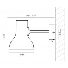 Anglepoise Type 75 Mini Wall Light Line Drawing