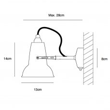 Anglepoise Original 1227 Ceramic Mini Wall Light Ceramic Line Drawing