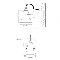 Anglepoise Original 1227 Wall Light Line Drawing