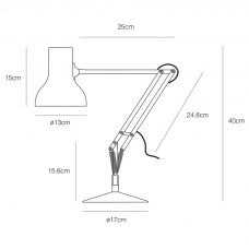 Anglepoise Type 75 Mini Table Lamp Line Drawing